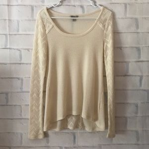 Lucky Brand | waffle knit cut out long sleeve top